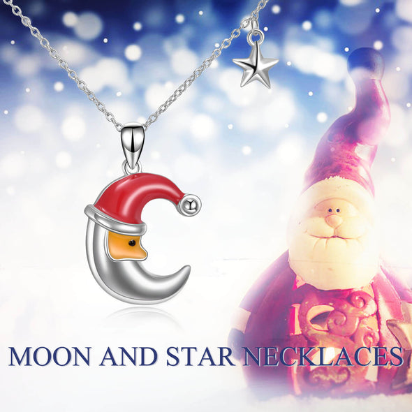 925 Sterling Silver Moon Star Pendant Necklace Gift For Girl - onlyone