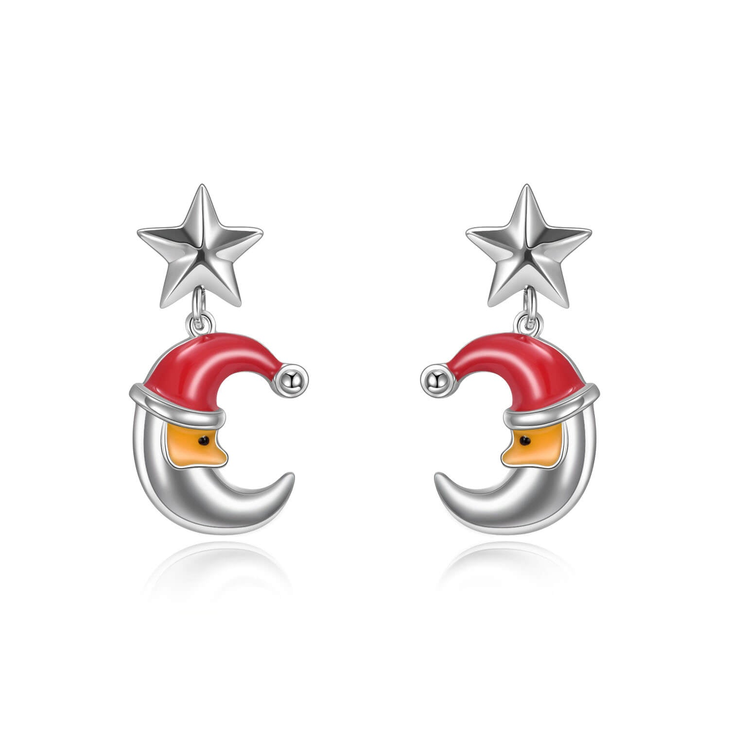925 Sterling Silver Moon Star Stud Earrings Gift For Girl - onlyone