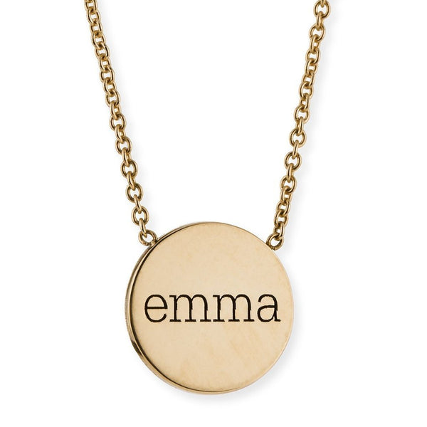 Engraved Coin Name Necklace-Engraved Necklaces-YAFEINI-Gold Plated-yafeini-personalized-custom-jewelry