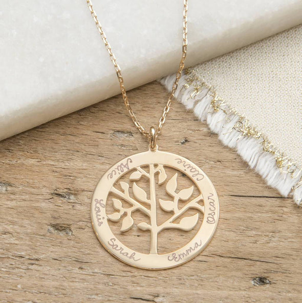 925 Sterling Silver Engraved Circle Life Tree Family Tree Name Necklace Gift For Grandma - onlyone