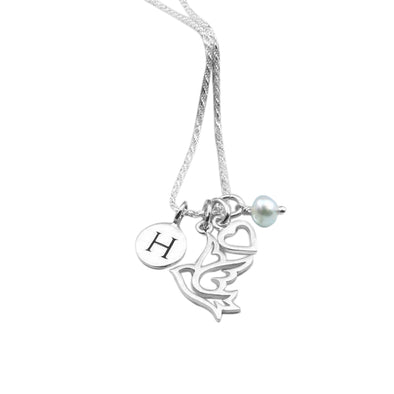 925 Sterling Silver Birthstone Engraved Initial Necklace - onlyone