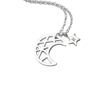 925 Sterling Silver Moon Star Engraved Initial Necklace - onlyone