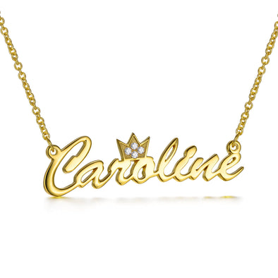 925 Sterling Silver Name Necklace With A Crown On The Top Nameplated Necklace - onlyone