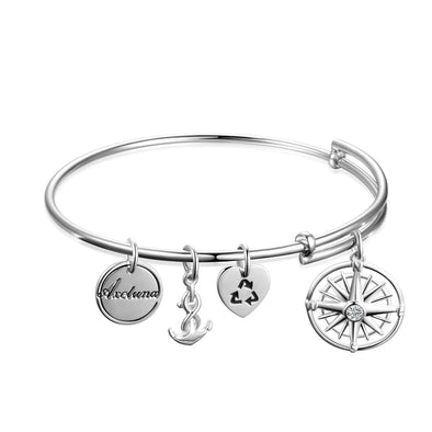 Personalized 925 Sterling Silver Nautical Anchor and Compass Bracelets Expandable Bangles for Women - onlyone