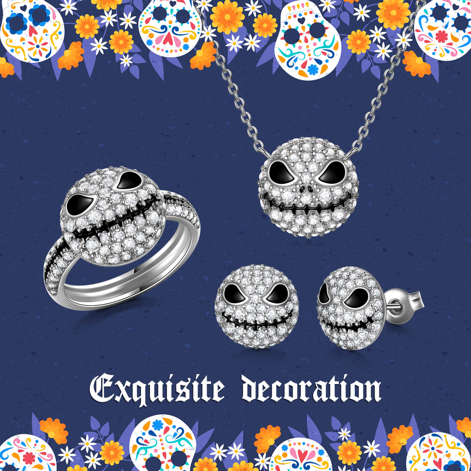 925 Sterling Silver Pumpkin King Jack Skull Ring Necklace Earring Set With White Zircon, The Nightmare Before Christmas - onlyone