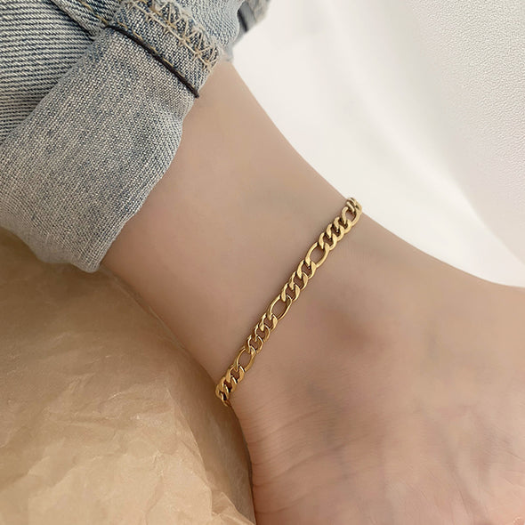 925 Sterling Silver Adjustable Figaro Chain Anklet
