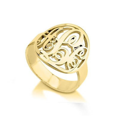 925 Sterling Silver Personalized Cutout Framed Monogram Ring - onlyone