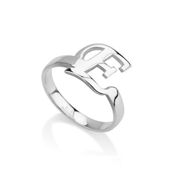 925 Sterling Silver Personalized Initial Letter Ring - onlyone