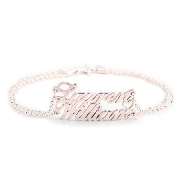 925 Sterling Silver Personalized Two Name Bracelet Anklet - onlyone