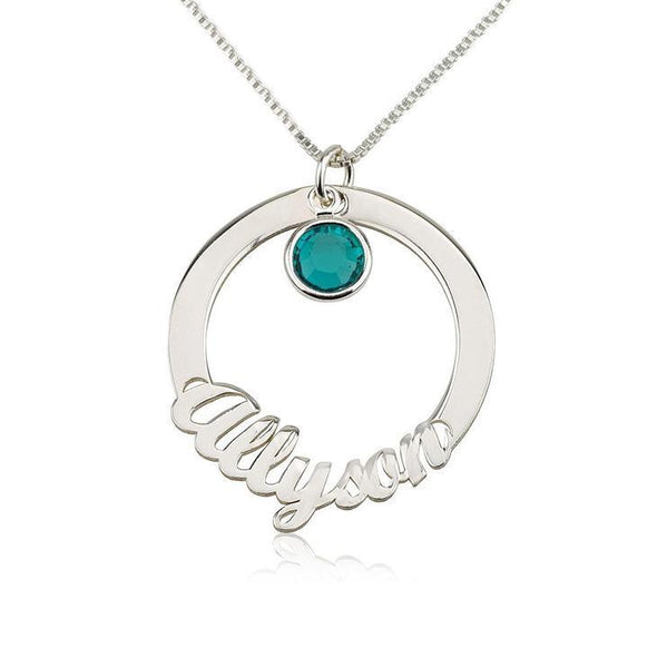 925 Sterling Silver Circle Engraved Name Necklace Nameplate Necklace With Birthstone - onlyone