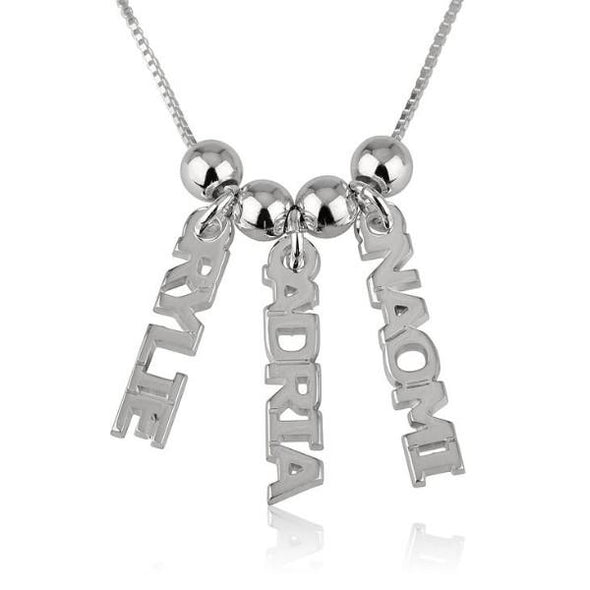 925 Sterling Silver Vertical Three Name Necklace Nameplate Necklace - onlyone