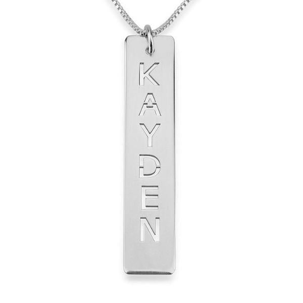 925 Sterling Silver Cut Out Engraved Vertical Bar Name Necklace Nameplate Necklace - onlyone
