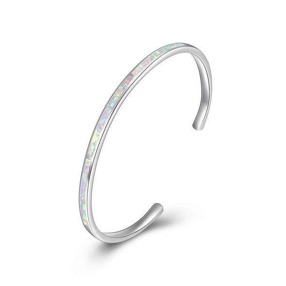 925 Sterling Silver Adjustable Cuff White Opal Bangle Bracelet Inspirational Bracelet - onlyone