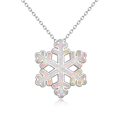 925 Sterling Silver Opal Snowflake Pendant Necklace Christmas Gift - onlyone