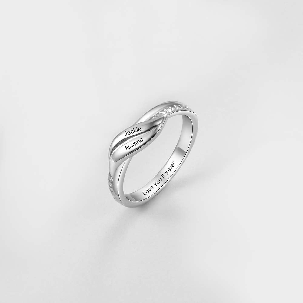 925 Sterling Silver Double Name Engraved Ring
