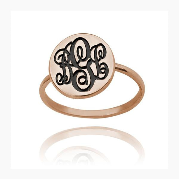 925 Sterling Silver Personalized Initial Monogram Ring - onlyone