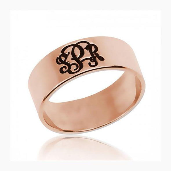 925 Sterling Silver Personalized Three Initials Monogram Ring - onlyone