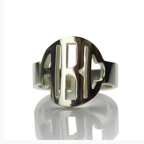Personalized Block Initials Monogram Ring-Personalized Rings-YAFEINI-Silver-yafeini-personalized-custom-jewelry