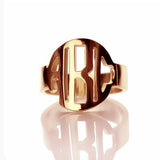 Personalized Block Initials Monogram Ring-Personalized Rings-YAFEINI-Rose Gold Plated-yafeini-personalized-custom-jewelry