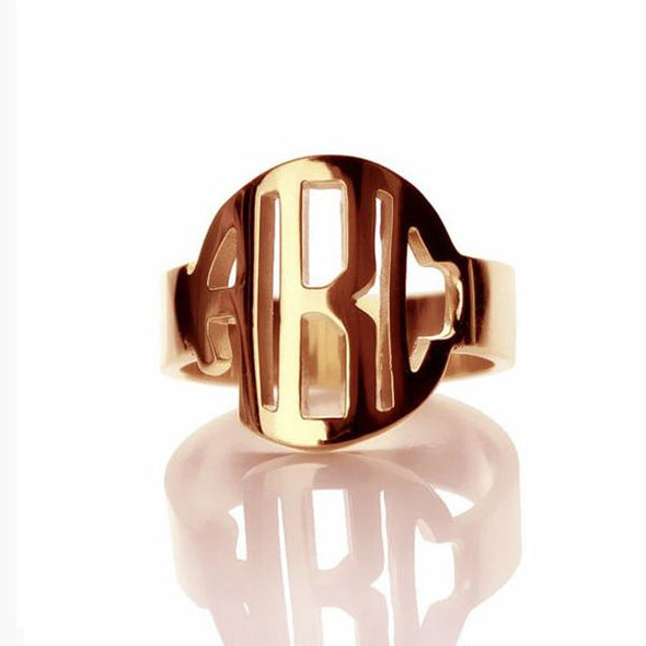 925 Sterling Silver Personalized Block Initials Monogram Ring - onlyone