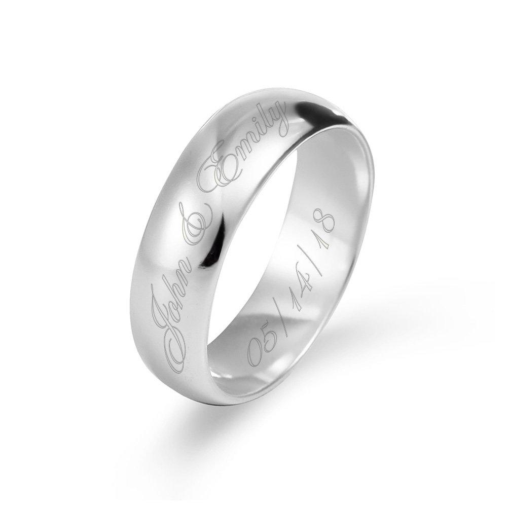 925 Sterling Silver Personalized Couple'S Message Ring - onlyone