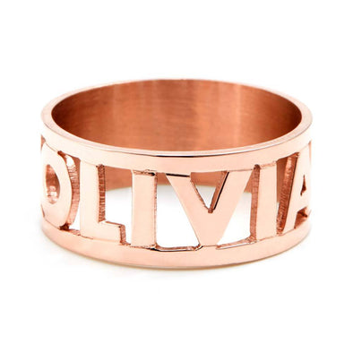 925 Sterling Silver Personalized Cut Out Name Ring Nameplate Ring - onlyone