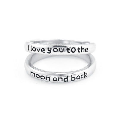925 Sterling Silver Personalized Double Band Engraved Ring Inspirational Gift - onlyone