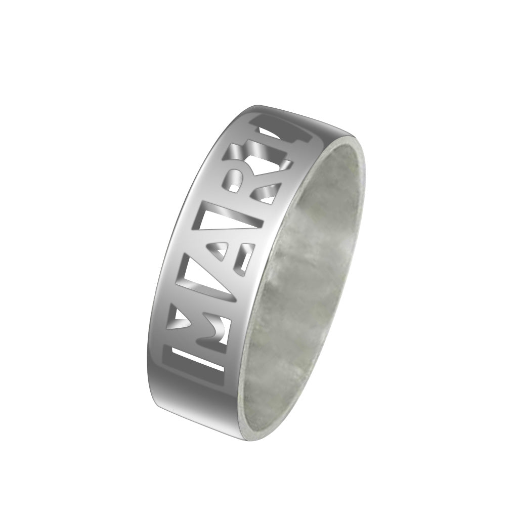925 Sterling Silver Personalized Cut Ring - onlyone
