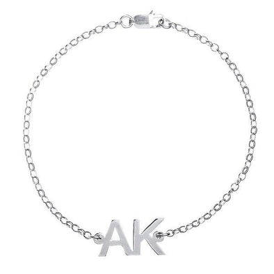 925 Sterling Silver Personalized Two Initial Bracelet - onlyone