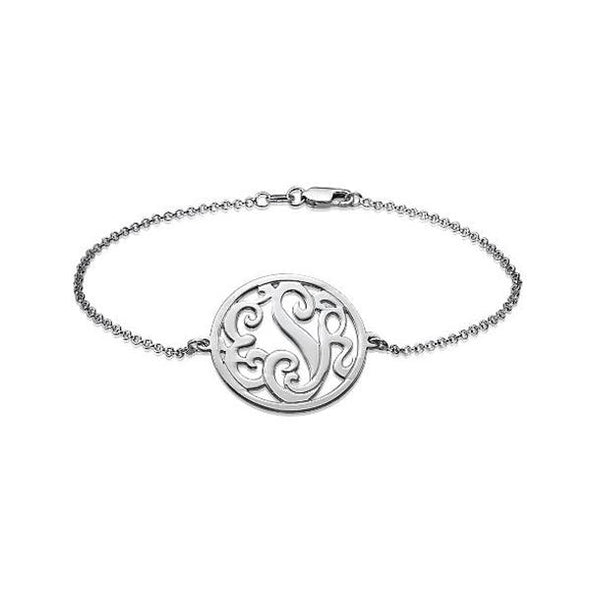 "925 Sterling Silver Personalized Circle Monogram Bracelet Length 6""-7.5"" - onlyone"