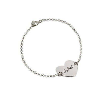 925 Sterling Silver Personalized Engraved Heart Bracelet - onlyone