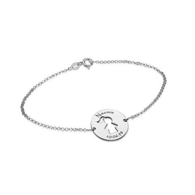 "925 Sterling Silver Personalized Cut Out Kid'S Bracelet Length 6""-7.5"" - onlyone"