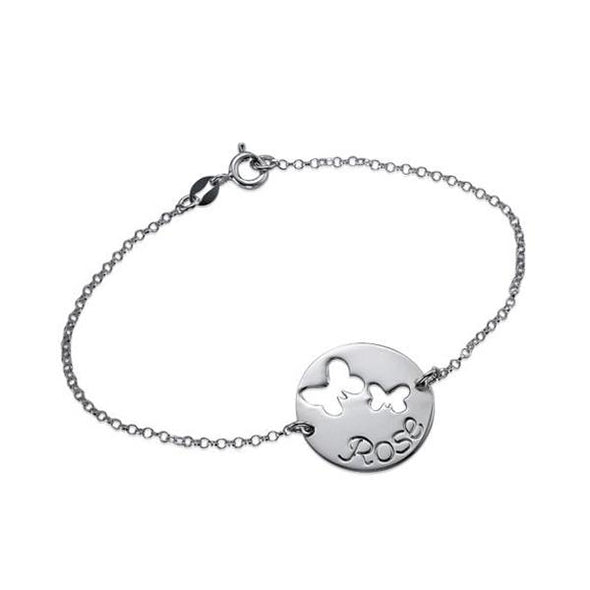 925 Sterling Silver Personalized Butterfly Name Bracelet - onlyone