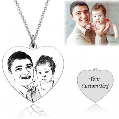 925 Sterling Silver Heart Engraved Photo Necklace, Memorial Gift - onlyone