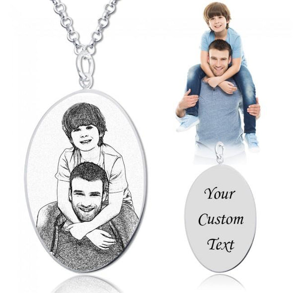 925 Sterling Silver Oval Engraved Photo Necklace Inspirational Gift - onlyone