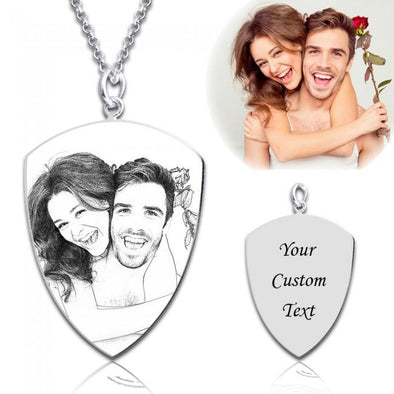925 Sterling Silver Shield Engraved Photo Necklace Inspirational Gift - onlyone