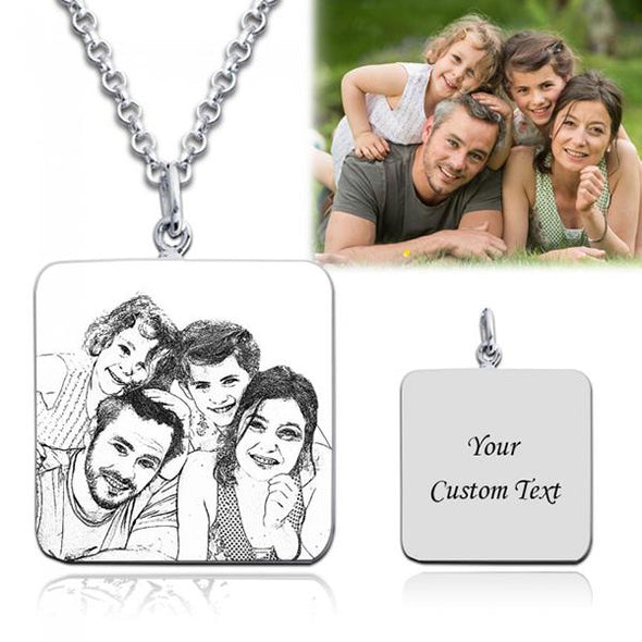925 Sterling Silver Square Engraved Photo Necklace - onlyone