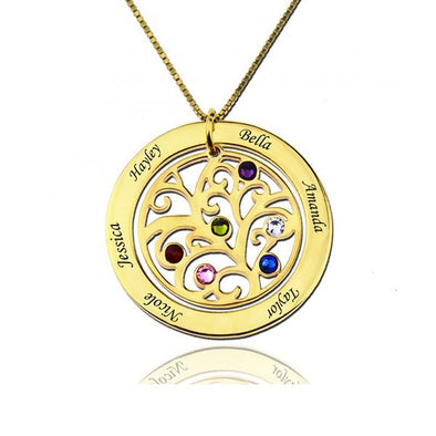 925 Sterling Silver Birthstone Family Tree Engraved Necklace Gift For Grandma - onlyone