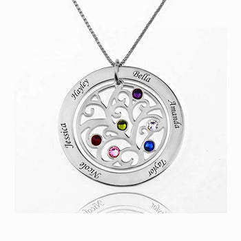 Birthstone Engraved Coin Name Necklace-Engraved Necklaces-YAFEINI-Silver-yafeini-personalized-custom-jewelry