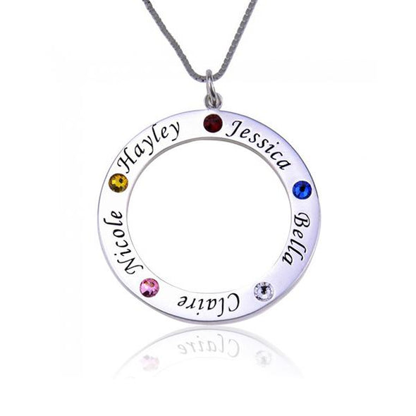 925 Sterling Silver Birthstone Engraved Circle Name Necklace Gift Nameplate Necklace - onlyone