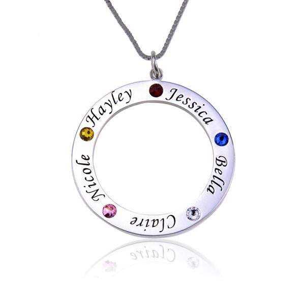 Birthstone Engraved Circle Name Necklace-Engraved Necklaces-YAFEINI-Silver-yafeini-personalized-custom-jewelry