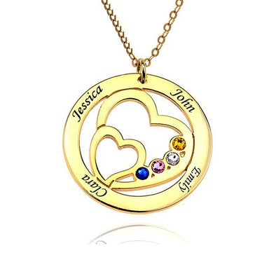 925 Sterling Silver Birthstone Engraved Circle Heart Name Necklace Gift Nameplate Necklace - onlyone