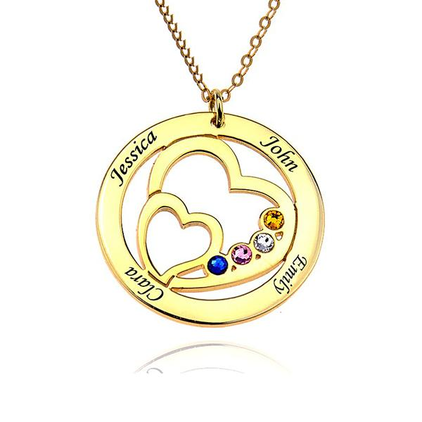 Birthstone Engraved Circle Heart Name Necklace-Engraved Necklaces-YAFEINI-Gold Plated-yafeini-personalized-custom-jewelry