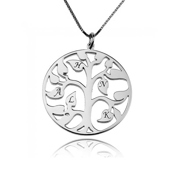 925 Sterling Silver Tree Of Life With Initial Engraved Necklace Gift For Mom - onlyone