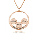 Circle Engraved 4 Name Necklace-Engraved Necklaces-YAFEINI-Rose Gold Plated-yafeini-personalized-custom-jewelry