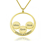 Circle Engraved 4 Name Necklace-Engraved Necklaces-YAFEINI-Gold Plated-yafeini-personalized-custom-jewelry