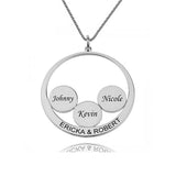 Circle Engraved 4 Name Necklace-Engraved Necklaces-YAFEINI-Silver-yafeini-personalized-custom-jewelry