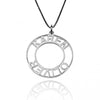 925 Sterling Silver Circle Engraved Roman Numerals Necklace Nameplate Necklace - onlyone