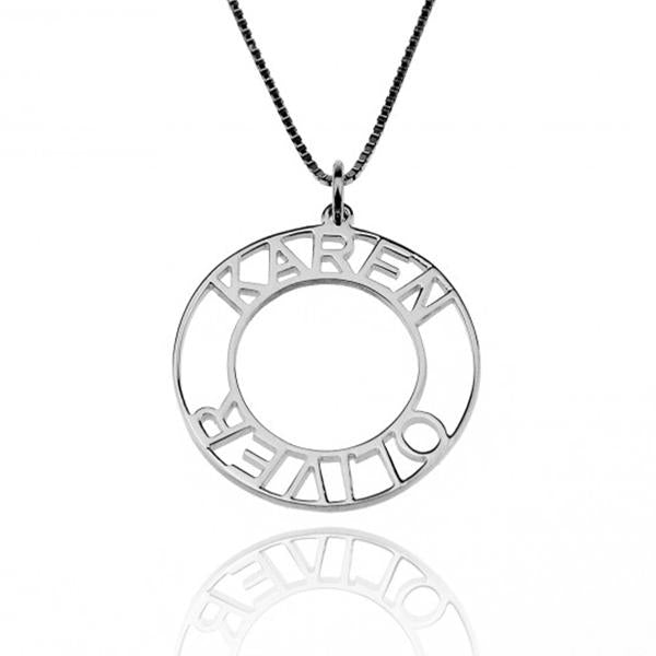 Circle Engraved Name Necklace-Engraved Necklaces-YAFEINI-Silver-yafeini-personalized-custom-jewelry