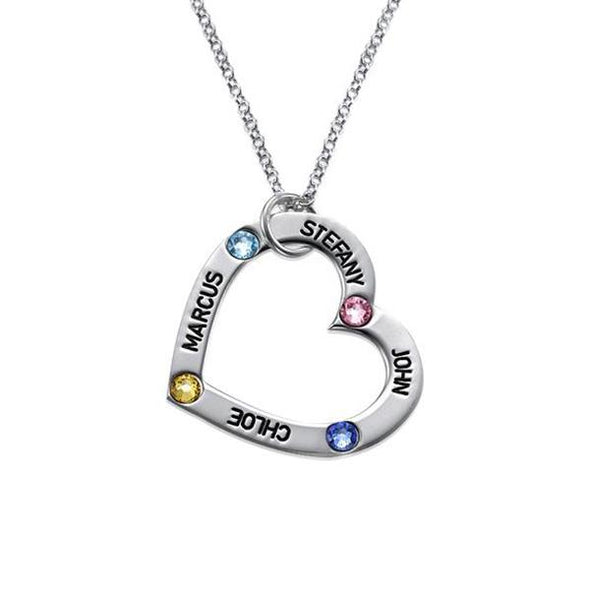925 Sterling Silver 4 Birthstone Engraved Heart Personalised Name Necklace Gift Nameplate Necklace Custom Heart Family Necklace with Birthstone - onlyone